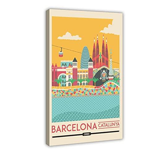 Póster de la ciudad de Barcelona Catalunya - Cuadro decorativo para pared (60 x 90 cm)