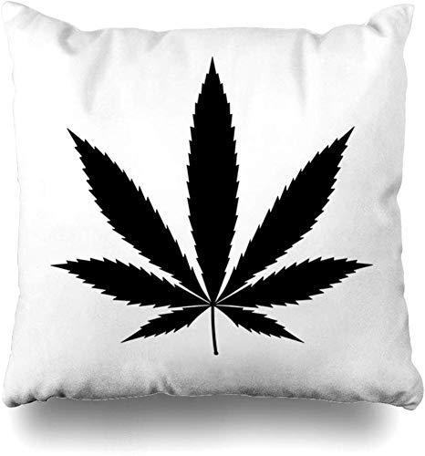 Throw Pillow Covers High Weed Cannabis Marijuana Leaf Hemp Pot Recreation Flat Nature Plant Outline Sativa 420 Home Decor Cushion Cover Pillowcase,45X45Cm