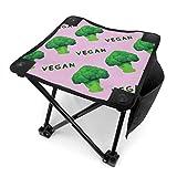 WlyFK Asiento para Acampar Plegable Brócoli Vegano Verde Rosa Silla portátil Viaje con Bolsa de Transporte