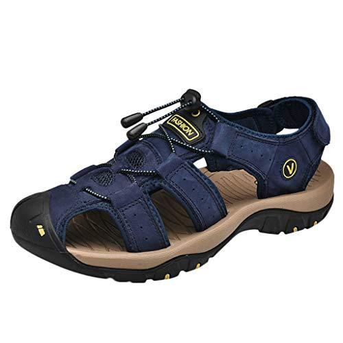 Lefthigh Mens Athletic Beach Shoes, Fashion Men Boys Casual Leather Flats Slide Sandals Blue