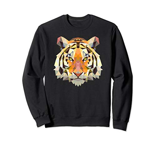 Cool Geometric Bengal Indian Tiger Face Sweatshirt Cat Gift