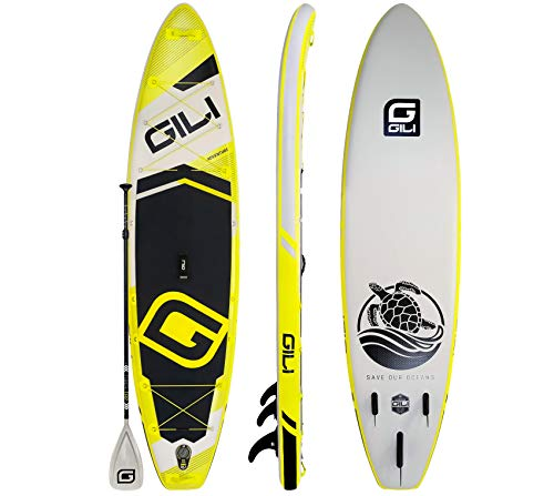 GILI Adventure Inflatable Stand Up Paddle Board: Lightweight, Durable Touring SUP: Wide & Stable Stance 11' x 32' x 6' Thick (Yellow)