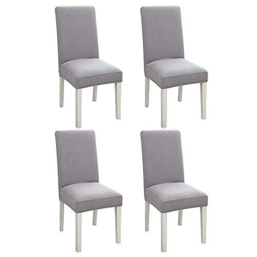 IYOYI 4 Pezzi Fodere per Sedie da Pranzo Fodere per Sedie Morbide Elasticizzate Sedili Lavabili Rimovibili Fodere per Sedie Protezione per Sedie per Sala da Pranzo Cucina e Banchetti (Grigio