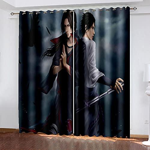 DRFQSK Cortinas Infantiles Impresión Digital Ninja De Anime 3D Cortinas Opacas Termicas Aislantes Cortinas Dormitorio Moderno con Ollaos, 2 Paneles 300 X 270 Cm(An X Al)