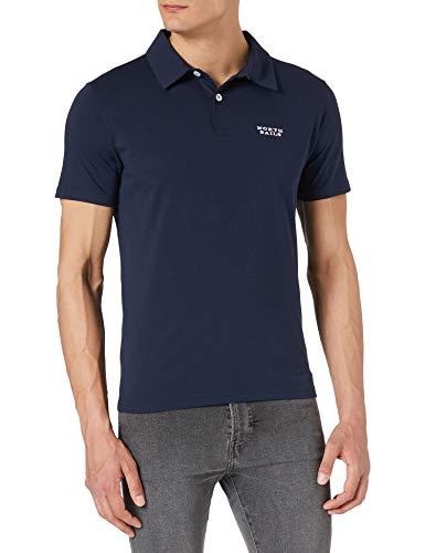 NORTH SAILS Polo da Uomo in Blu Notte - piqué di Cotone Certificato al 100% - vestibilità Regolare con Maniche Corte e Scritte Ricamate - L