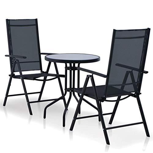 QWSX Mesas y sillas de Exterior Muebles de jardín Moderno Juego de Comedor 3 Piezas con Marco de Aluminio y Asiento Textilene de Color Negro for al Aire Libre, Patio, terraza Ocio y Entretenimiento