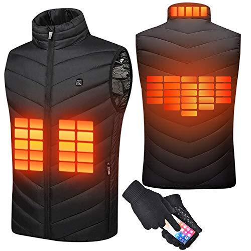 Suxman Gilet Chauffant pour Homme Femme Veste Chauffante USB Charge Électrique Hiver Température Réglable USB pour Ski Pêche Camping