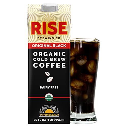 RISE Brewing Co. | Original Black Cold Brew | Vegan & Non-Dairy | Organic, Non-GMO | 32oz. Multi-Serve Carton (Pack of 6)
