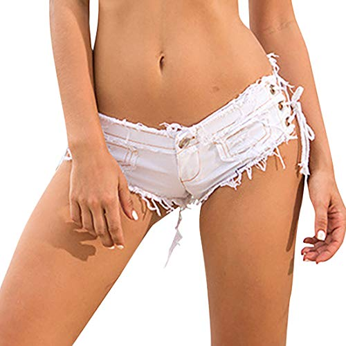 Women's Side Lace Up High Cut Ripped Shorts Sexy Low Waist Hipster Hot Pants Skinny Micro Mini Shorts (White, L)