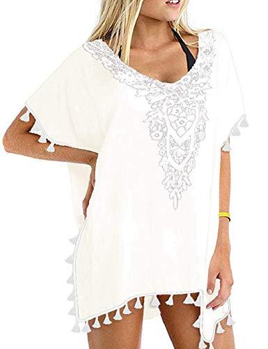 heekpek Vestido Playa Mujer Ganchillo Borlas Talla Grande Traje de baño de Gasa Cubra Camisa Bikini Protector Solar