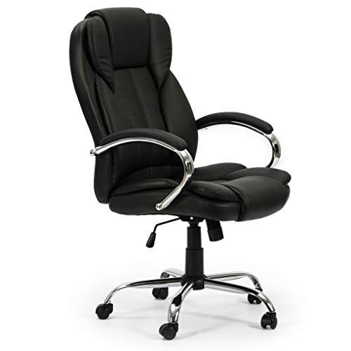 VS Venta-stock Sillón de Oficina elevable y reclinable Nixon tapizado con Piel sintética, Color Negro, Metal Cromado
