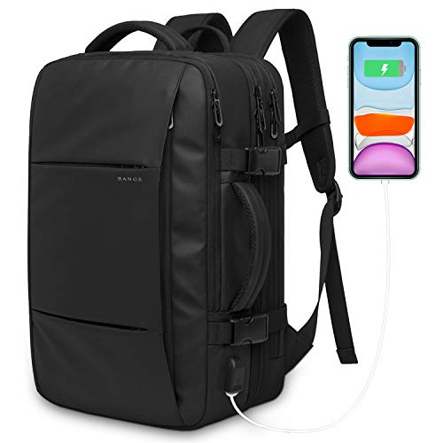Carry on Travel Backpack,40L Flight Approved Expandable Backpack Weekender Bag for Men and Women,Water Resistant Anti-Theft Luggage Rucksack Daypack Backpack Fits 15.6 Inch Laptop (Black-40L)