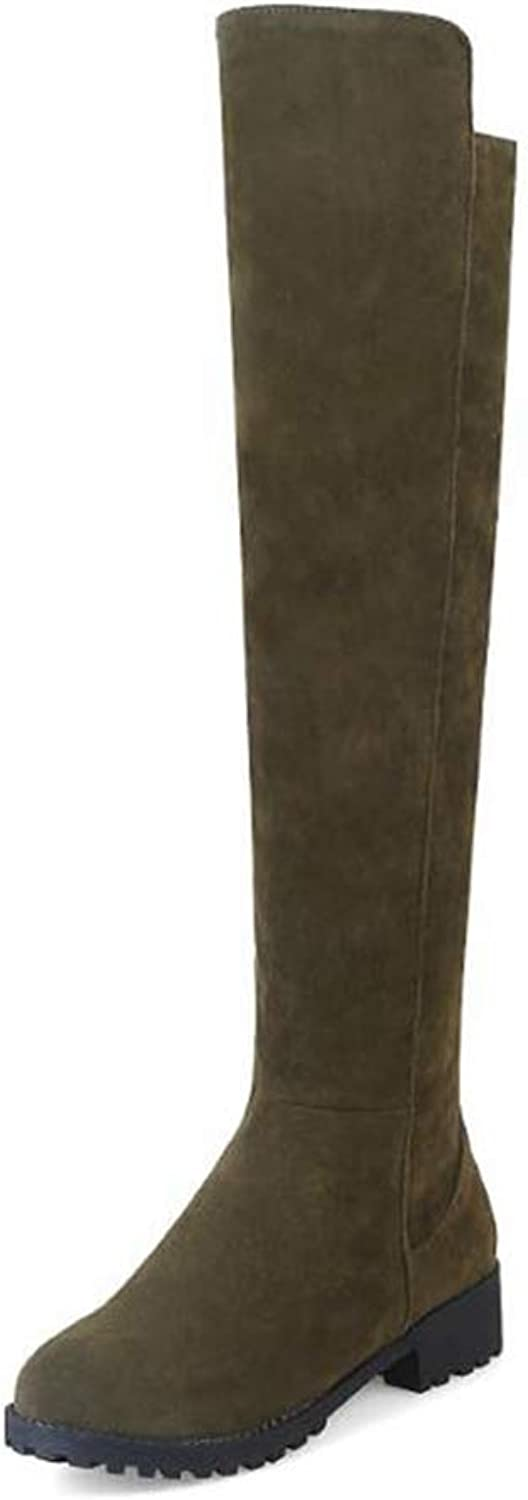 GEORPE Over Knee Stretch Boots Thigh High Slouchy Flat Heel Women Boots