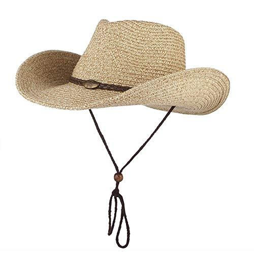 Sonnenhut Hut Cowboy Sonnenhut Wind Lanyard Für Männer Frauen Breite Krempe Strohhut Strandmütze Panama Angeln Fischer Mütze Sommerhüte 56-58Cm Kaffee