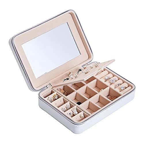 LYLY PU Caja de joyería de Cuero Organizador de joyería de Gran Capacidad con Caja de Almacenamiento de Joyas de Espejo para Mujeres niñas (Color : White)