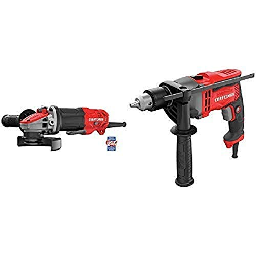 CRAFTSMAN Angle Grinder, Small, 4-1/2-Inch, 7.5-Amp, Tool Only with Drill/Driver, 7-Amp, 1/2-Inch (CMEG200 & CMED741)