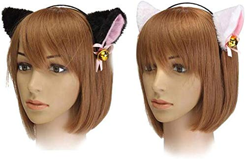 『Animal Cosplay Costume Cat Ear Headband For Halloween Fancy Dress Costume Party with Bell White』の3枚目の画像