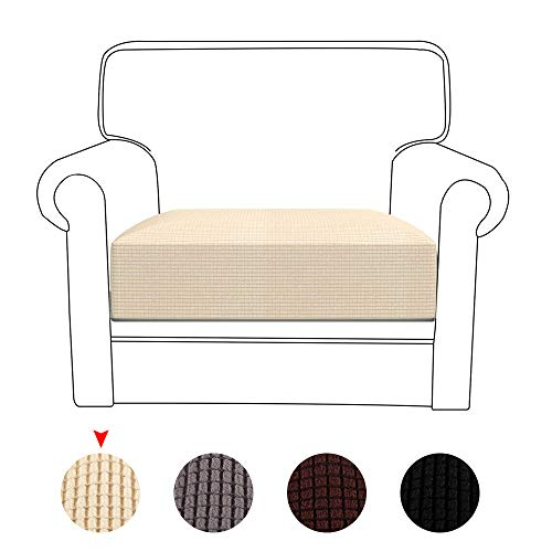1/2/3 Seat Stretch Couch Cushion Covers Washable Sofa Cushion Cover Sets Flexibility Loveseat Sofa Cover with Elastic Bottom (1 seat-cream)