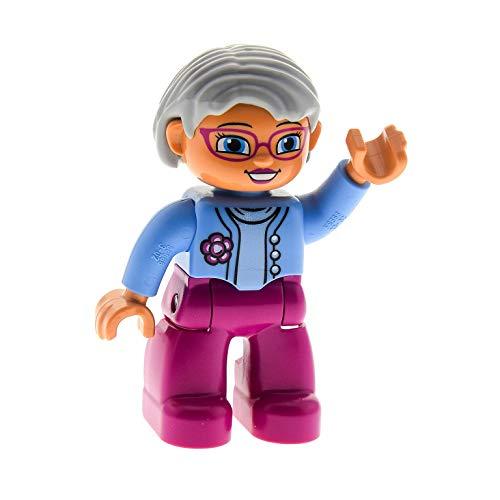 Bausteine gebraucht 1 x Lego Duplo Figur Frau Oma Mutter Hose magenta rosa Jacke hell blau mit Blume Haare hell grau Brille für Puppenhaus 10500 10521 47394pb173