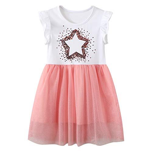 JinBei Kleid Mädchen Pailletten Sterne Kleider Kinder Kurzarm Sommer Alltag Chiffon Baumwolle Elegant Kleidung Prinzessin Rosa Tüllrock Rüschen Geburtstag Geschenk 2 3 4 5 6 7 Jahre