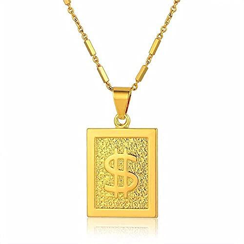 NC198 Collar con Colgante de Signo de dólar a la Moda, Cadena de Color Dorado, Collares con Babero geométrico, dijes para Mujer, joyería de 46 cm