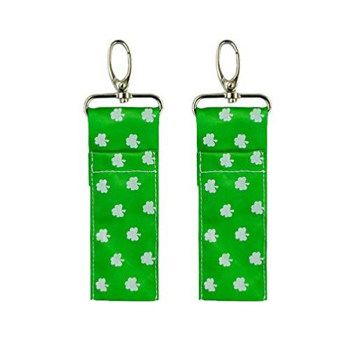 Amosfun 2Pcs St. Patricks Day Chapstick Porte-Clés Shamrock Rouge à Lèvres Pochette Sangle Porte-Clés Sac Porte-Rouge à Lèvres avec Clip Irlandais Fournitures de Fête Modèle 3