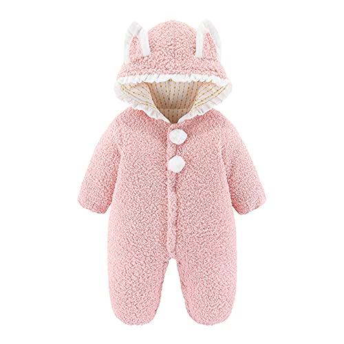 Newborn Baby Boy Girl Animal Hoodie Fleece Rompers Infant Snowsuit Jumpsuit Long Sleeve Toddler Winter Outfits Pink
