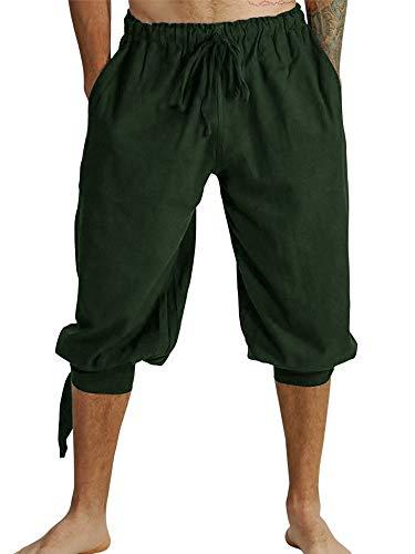 Pantalones cortos para hombre, con cordones, pantalones de verano, vikingos, piratas, medievales, vintage, disfraz informal, tiempo libre, playa, pantalones cortos para hombre A-verde. XL