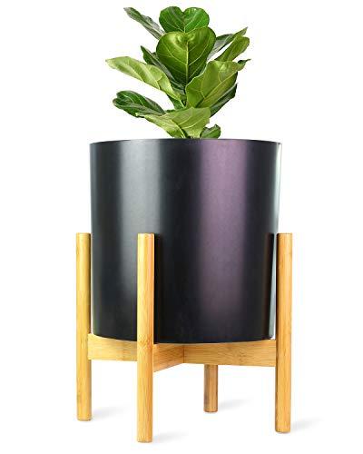 ECBANLI Pflanzenständer, Retro Mitte des Jahrhunderts Pflanzenhalter, Holz-Blumentopf-Ständer Topfgestell für Innen- und Außenbereiche, bis zu 12 Zoll Pflanzgefäß, natürlich Bambus