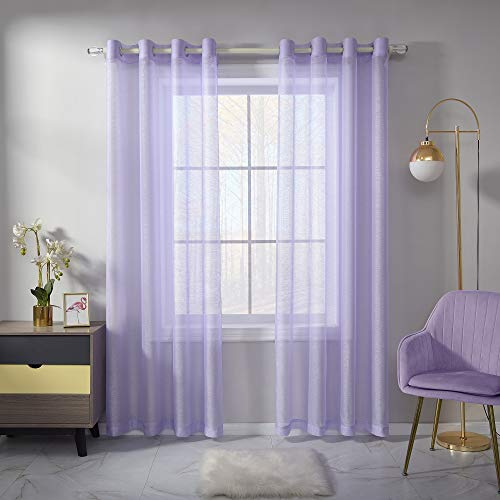 Lavender Sheer Curtains 84 Inch Length Set 2 Panels For Bedroom Faux Linen Sheer Drapes Solid Luxury Grommet Light Purple Textured Sheer Curtains For Living Room Basement Windows 52 X84 Inches Long