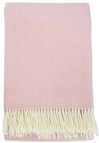 Plaids & Co Lange Wolldecke 'Brita' mit feinem Zopfmuster aus 100% Neuseeland Schurwolle, Kuscheldecke, Wollplaid, warme Decke, Überwurf (rosé-Creme, 140 x 220 cm)