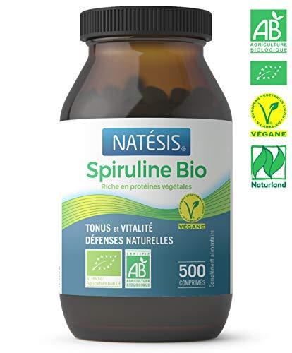 NATESIS — Spiruline Bio — Complément alimentaire en comprimés — 500 comprimés — Vegan — 100 % Spiruline — Sport, minceur, énergie, immunité — 250 g