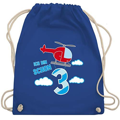 Shirtracer Geburtstag Kind - Ich bin schon 3 Hubschrauber - Unisize - Royalblau - turnbeutel baumwolle kinder hubschrauber - WM110 - Turnbeutel und Stoffbeutel aus Baumwolle