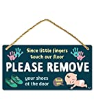 Fun-Plus Please Take Your Shoes Off - Remove Your Shoes Sign - 10″x5″ PVC Plastic Hanging Sign- Since Little Fingers Touch Our Floor