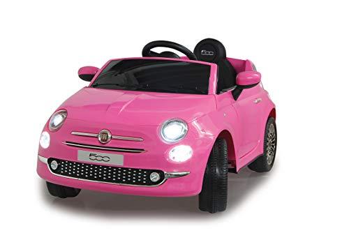 Jamara 460443 Ride-on FIAT 500 12V-2 krachtige aandrijfmotoren en accu voor lange rijtijd, licht aan/uit, LED-koplamp, achterlicht, geheugenkaartslot, AUX-/ USB-aansluiting, claxon, roze