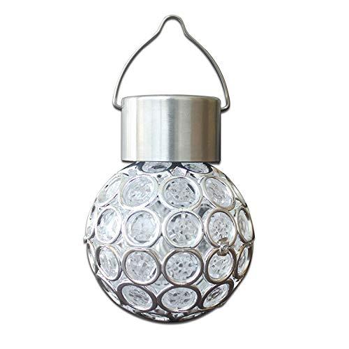 Metikkeer Luz LED de bola de cristal solar que cambia de color, colgante de cristal, impermeable, para exteriores, patio, jardín, fiesta, patio, pasillo, pared exterior
