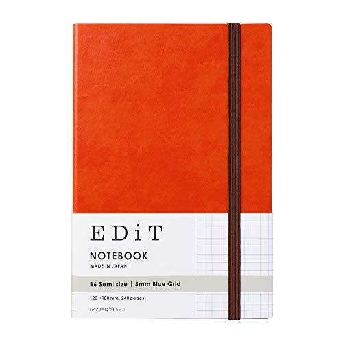 マークス 方眼ノート B6変型 EDiT エディット アプリコットオレンジ EDI-NB06-OR