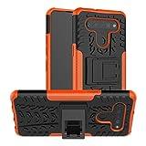 HAOTIAN Funda para LG K41S / K51S Funda, Carcasa [Tough Armor Series] Robusta Armadura Híbrida TPU/PC, Protector Interno TPU a Prueba de Golpes + Soporte Plegable. Naranja