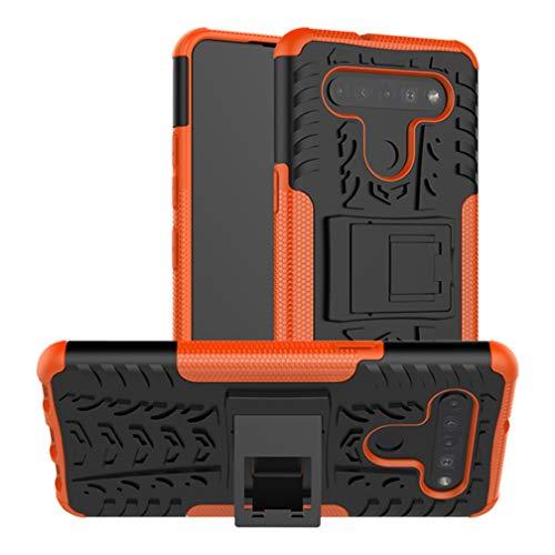 HAOTIAN Handyhülle für LG K41S / K51S Hülle, Rugged TPU/PC Hybrid Armor Schutzhülle. Anti-Scratch PC Rückwand Schale + Stoßfeste TPU Innenschutzabdeckung + Faltbarer Halterungen. Orange