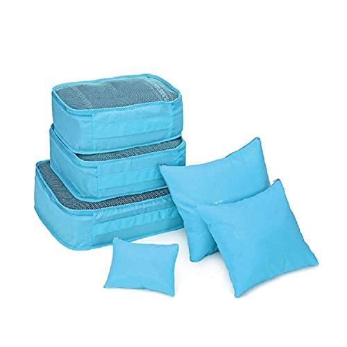 LWLLBH Bolsa de Almacenamiento de Viaje de 6 Piezas Set para Ropa para Ropa de Almacenamiento ordenado Bolsa de Maleta Bolsa de Almacenamiento de Viaje Zapato de Cuero Packaging Bag (Color : Blue)