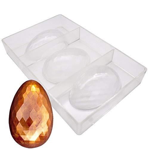 Stampo 3D in policarbonato trasparente, 3 fori, per uova di Pasqua, cioccolatini, cioccolatini, uova di Pasqua, cioccolatini, cioccolatini, teglie