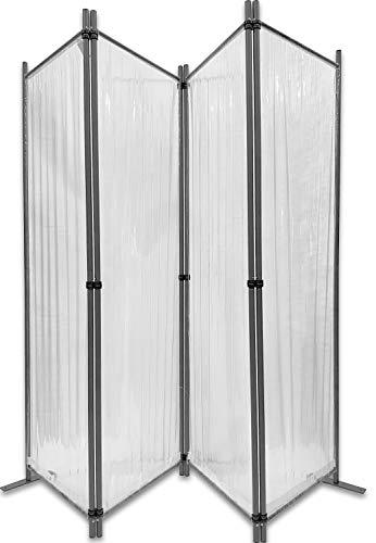 GRASEKAMP Qualität seit 1972 Paravent 225x170cm - 4tlg. transparent - Paravent Raumteiler Trennwand Sichtschutz