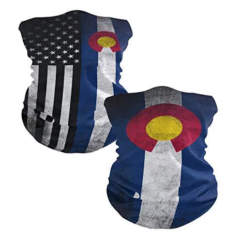 Ningboo 2Pcs USA Colorado Flag Face Scarf Magic Tube Bandanas Headwear Neck Gaiter Balaclava