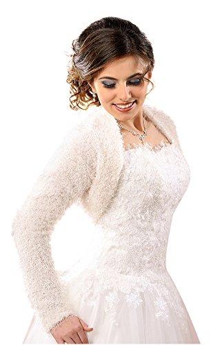 Bolerojacke Brautbolero Pelz Bolero Jacke Hochzeit Pelzjacke Brautjacke dB235, M Weiß