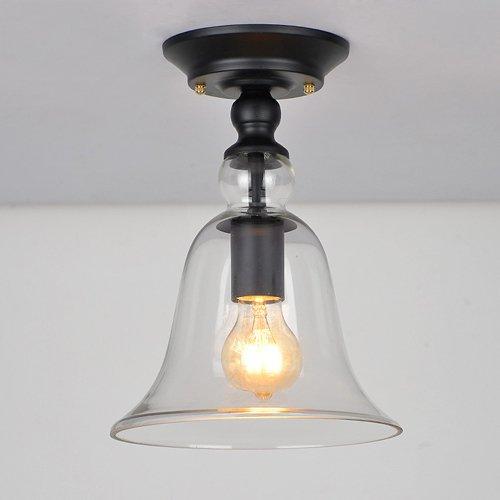 Hines Industriel Style 11 '' Hauteur Clair Abat-Jour Petit Semi Encastré Plafonnier En Verre lampe utilisation LED E27 Ampoule 1 Lumière