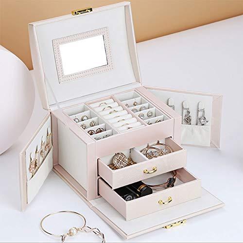 HO-COOL Caja de almacenamiento portátil para joyas, organizador con 2 cajones, organizador de joyas de viaje, organizador de joyas, para regalo de niñas y mujeres, terciopelo, color rosa