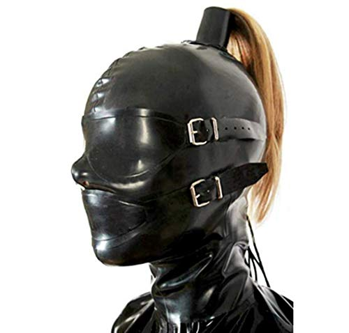 Natural Latex Rubber Full Enclosure Hood Unisex Mask for Party Bodysuits Wear