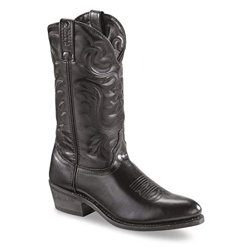 Guide Gear Cowboy Boots Men 12 Inches, Leather And Slip On Western Boots For Men, Black, 11 2E (Wide)