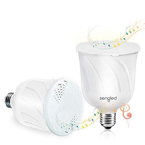 Sengled Pulse E27 Smart Lampe mit JBL Bluetooth Lautsprecher, Dimmbar Bluetooth Glühbirne LED Lampen Warmweiß 2700K, App Steuern Kompatibel mit Alexa Echo, Weiß, 2er Pack