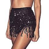 Mayelia Falda Rave con flecos y lentejuelas, falda con borla, danza del vientre, bufanda de cadera, traje rave para mujeres y niñas, Negro, 40W regular